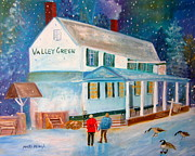 Snowfall Paintings - Snowfall ValleyGreen by Marita McVeigh