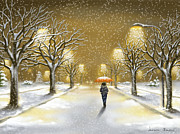 Landscapes Digital Art Metal Prints - Snowfall Metal Print by Veronica Minozzi