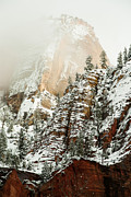 Outcrops Framed Prints - Snowfall Zion National Park Utah Framed Print by Robert Ford