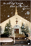 Snowing At The Chapel Print by Kathy  White
