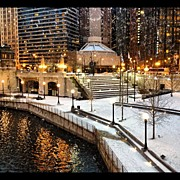 Bulls Photo Prints - Snowing in Chicago Print by Mike Maher