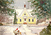 New England Snow Scene Painting Posters - Snowing in Woodstock Poster by Sherri Crabtree