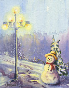 Night Lamp Paintings - Snowman 2 by Glenn Farrell