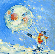 Winter Fun Paintings - Snowman and snowball  by David Cooke