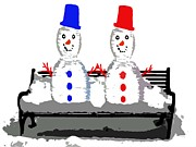 Christmas Greeting Mixed Media - Snowman And Snowwoman Holding Hands by Patrick J Murphy