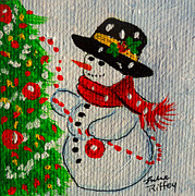 Fedora Paintings - Snowman and The Christmas Tree by Julie Brugh Riffey