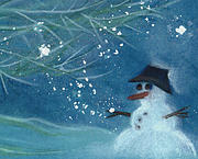 Season Pastels Posters - Snowman by jrr Poster by First Star Art