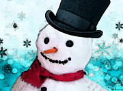 Snow Paintings - Snowman Christmas Art - Frosty by Sharon Cummings