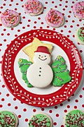 Carbohydrate Framed Prints - Snowman cookie plate Framed Print by Garry Gay