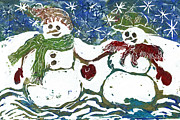 Relief Print Painting Prints - Snowman Couple  Print by Ellen Miffitt