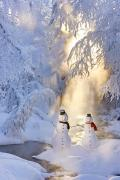 Snowy Evening Prints - Snowman Couple Standing Next Print by Kevin Smith