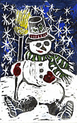 Relief Printing Framed Prints - Snowman Framed Print by Ellen Miffitt