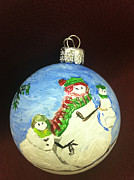 Ornaments Art - Snowman Family Christmas Ornament by MEA Fine Art
