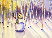 Looking At Camera Paintings - Snowman Forest by Kerrie  Hubbard