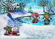 Pond Hockey Paintings - Snowman Friends Ice Skating  P1 by Mary Nicholson