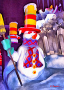 Christmas Cards Art - Snowman by George Rossidis