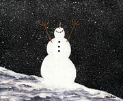 Snowy Night Night Prints - Snowman Print by Jamie Frier