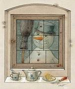 Winter Drawings Framed Prints - Snowman Framed Print by Kestutis Kasparavicius