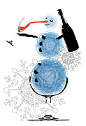 Canvas Wine Prints Digital Art Posters - Snowman Poster by Martin Navratil