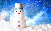 Christmas Holiday Scenery Art - Snowman by Michal Bednarek