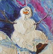 Paris Wyatt Llanso Prints - Snowman Print by Paris Wyatt Llanso