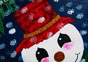 Plaque Painting Posters - Snowman Peeking At You Poster by Annie Zeno