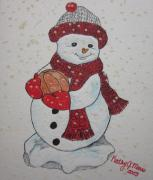 Basketball Paintings - Snowman Playing Basketball by Kathy Marrs Chandler