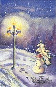 Night Lamp Painting Originals - Snowman Waiting by Glenn Farrell