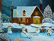 Hockey Paintings - Snowmans Hockey by Anthony Dunphy