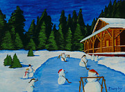 Hockey Painting Originals - Snowmans Hockey Two by Anthony Dunphy