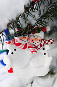 Needle Photo Prints - Snowmen Christmas ornament Print by Elena Elisseeva