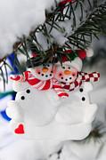 Snowmen Christmas Ornament Print by Elena Elisseeva