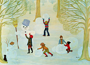 Winter Trees Painting Posters - Snowmen Poster by Ditz