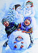 Snow Picture Paintings - Snowmen by Hanne Lore Koehler