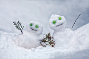 Snow Covered Prints - Snowmen Print by Joana Kruse