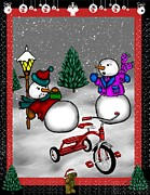 Toys Mixed Media - Snowmen Playing by Karen Sheltrown