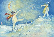 Christmas Card Painting Framed Prints - Snowmens Midnight Fun Framed Print by David Cooke