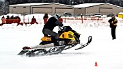 Ski Racing Art Prints - Snowmobile Drags Print by Don Mann