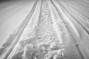snowmobile tracks in snow in rural Forget Saskatchewan Canada Print by Joe Fox