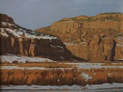 Winter Scenes Rural Scenes Pastels Prints - Snowmonolith In Capitol Reef Print by Doyle Shaw