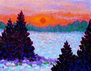 Poppies Field Painting Originals - Snowscape by John  Nolan