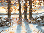 Winter Trees Digital Art Metal Prints - Snowscape Metal Print by Veronica Minozzi