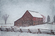 Snowstorm Digital Art Posters - Snowstorm at the Ranch 2 Poster by Priscilla Burgers