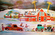 Litvack.old Cars Paintings - Snowstorm Helpers Montreal Memories by Michael Litvack
