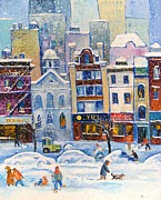 New England Snow Scene Painting Framed Prints - Snowstorm in New York Framed Print by Mikhail Zarovny