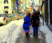 St.catherine Street Posters - Snowsuits And Boots Dressed For Winter Stroll Downtown St Catherine Street Scene Carole Spandau Poster by Carole Spandau