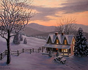 Winterscape Painting Originals - Snowtime in Vermont by Paul Sansom