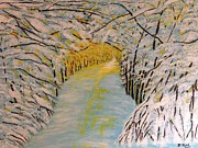 Snow-covered Landscape Painting Prints - Snowtopia Print by Donna Perkins