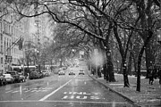 City Streets Framed Prints - Snowy Afternoon on Fifth Avenue Framed Print by Anahi DeCanio