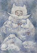 Cat Pastels - Snowy and Tender by Anna Petrova